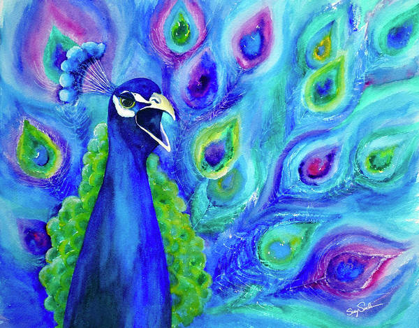 Wall Art - Painting - Peacock Talk by Susy Soulies