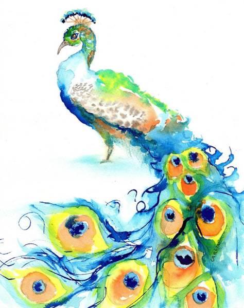 Painting - Peacock Watercolor by Carlin Blahnik CarlinArtWatercolor