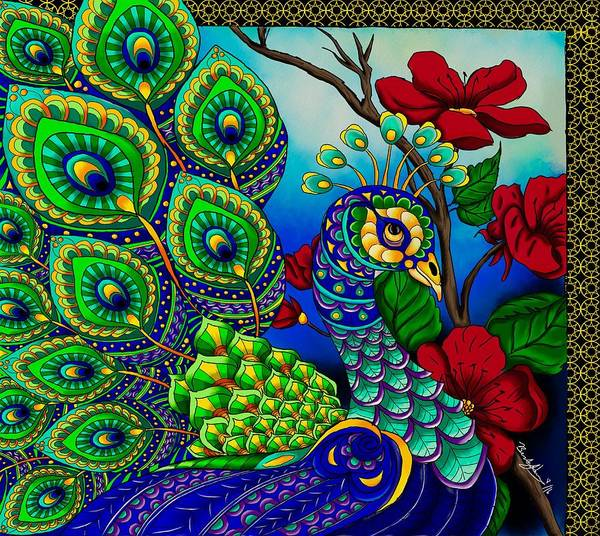 Painting - Peacock Zentangle Inspired Art by Becky Herrera