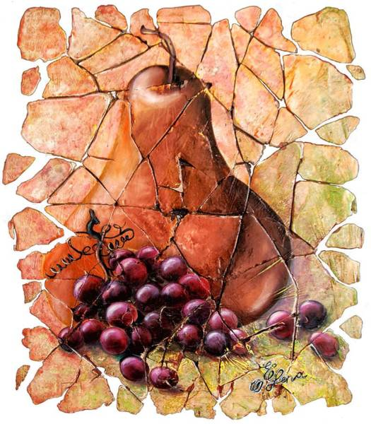 Painting - Pear And Grapes Fresco by OLena Art - Lena Owens