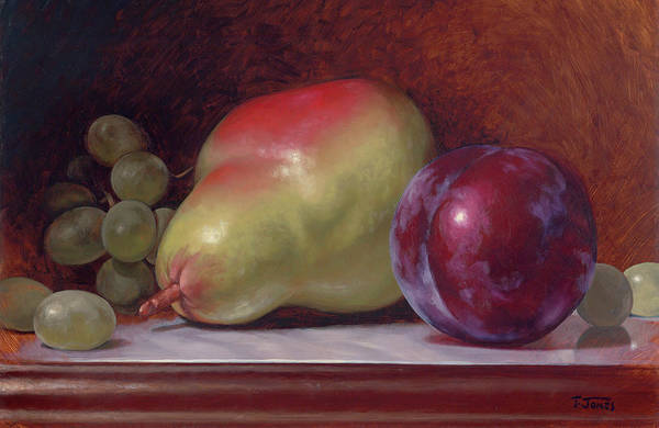 Wall Art - Painting - Pear And Plum by Timothy Jones
