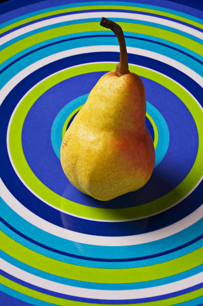 Golden Delicious Wall Art - Photograph - Pear On Plate With Circles by Garry Gay