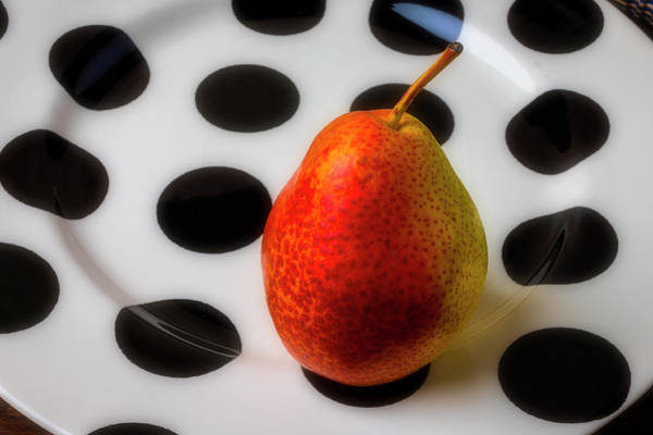 Wall Art - Photograph - Pear On Spotted Plate by Garry Gay