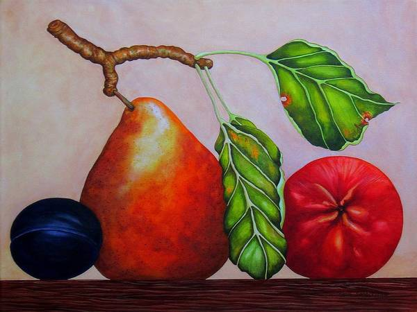 Wall Art - Painting - Pear, Plum, Apple II by Carol Sabo