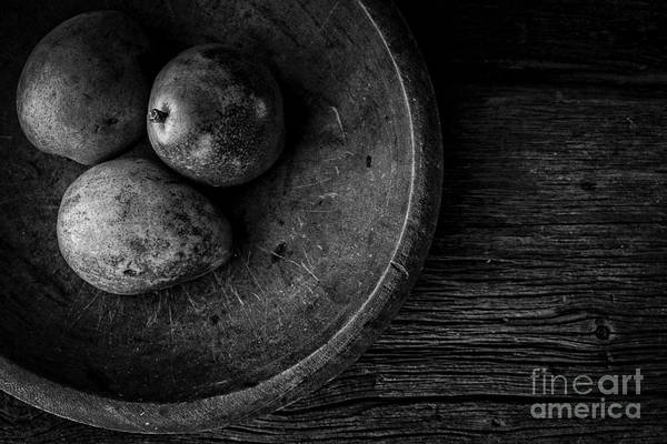 Photograph - Pear Still Life In Black And White by Edward Fielding