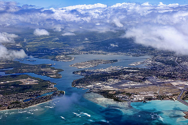 Uss Arizona Wall Art - Photograph - Pearl Harbor Aerial View by Dan McManus