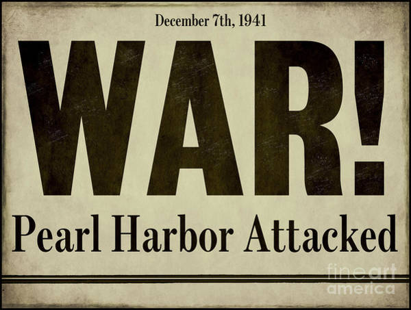 Vintage Painting - Pearl Harbor Attack Newspaper Headline by Mindy Sommers