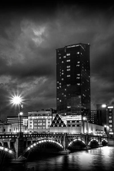 Photograph - Pearl Street Bridge At Night On The Grand River by Randall Nyhof