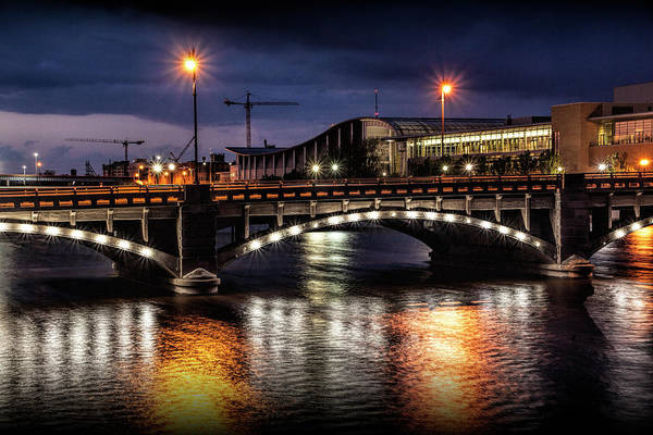 Photograph - Pearl Street Bridge At Night Over The Grand River by Randall Nyhof