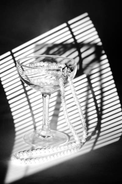 Photograph - Pearls In Wineglass. Light And Shadows by Dmitry Soloviev