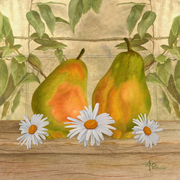 Mixed Media - Pears And Daisies by Angeles M Pomata