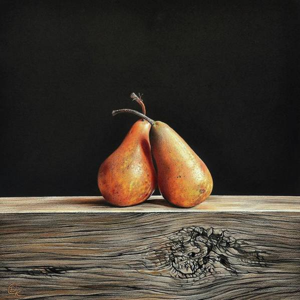 Drawing - Pears by Elena Kolotusha
