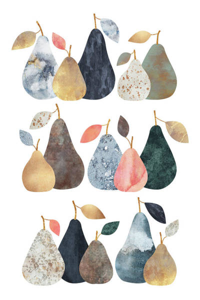 Food And Beverage Mixed Media - Pears by Elisabeth Fredriksson