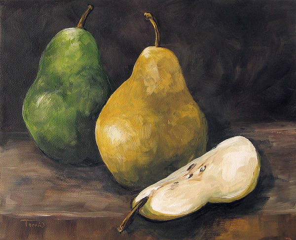 Wall Art - Painting - Pears Green And Gold by Torrie Smiley