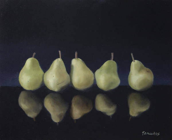 Painting - Pears In Black by Linda Tenukas