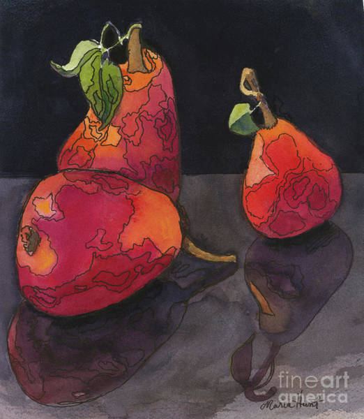 Wall Art - Painting - Pears In Reflection by Maria Hunt