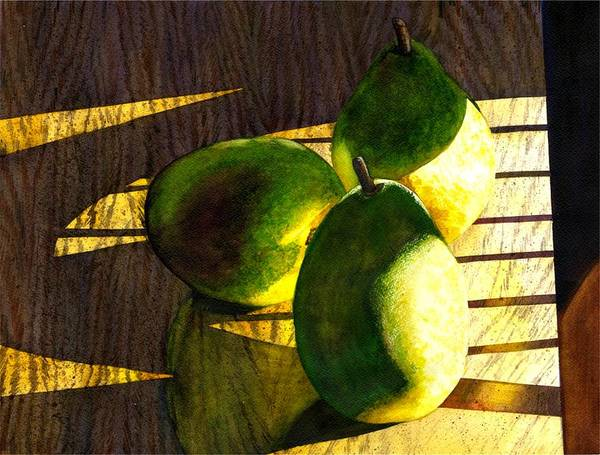 Food Still Life Painting - Pears No 3 by Catherine G McElroy