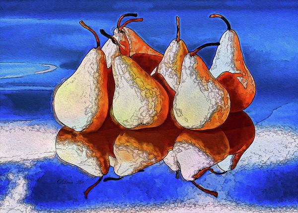 Digital Art - 7 Golden Pears  by OLena Art - Lena Owens