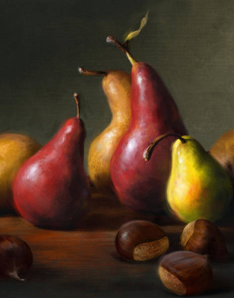 Still Life Wall Art - Painting - Pears With Chestnuts by Robert Papp
