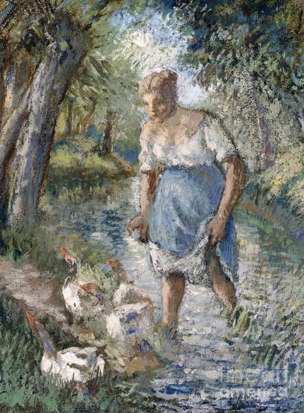 Wall Art - Painting - Peasant Crossing A Stream by Camille Pissarro