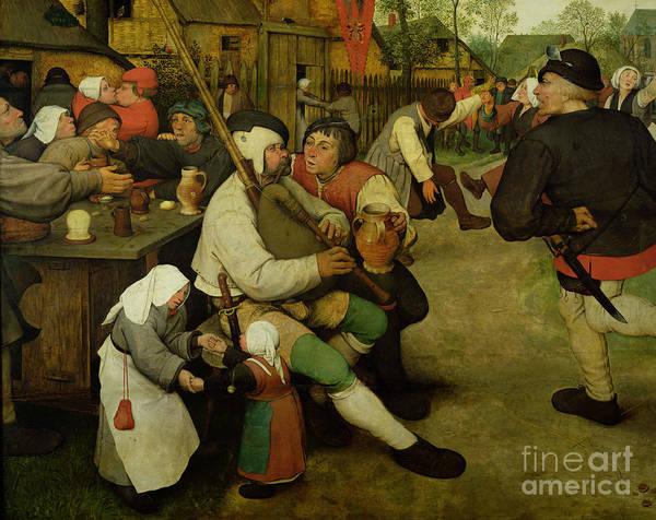 Bagpipes Wall Art - Painting - Peasant Dance by Pieter the Elder Bruegel