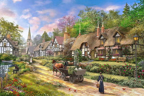 English Cottage Photograph - Peasant Village Life Variant 1 by MGL Meiklejohn Graphics Licensing