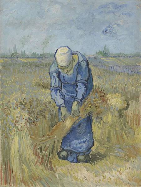 Painting - Peasant Woman Binding Sheaves After Millet Saint Remy De Provence  September 1889 Vincent Van Gogh by Artistic Panda