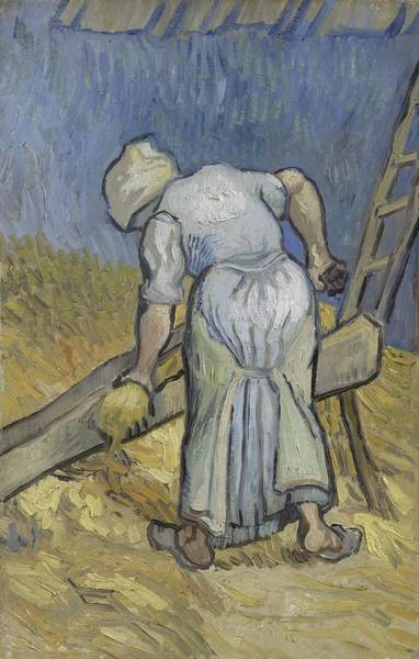 Painting - Peasant Woman Bruising Flax After Millet Saint Remy De Provence September 1889 Vincent Van Gogh  by Artistic Panda