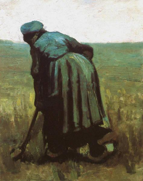 Forsythia Painting - Peasant Woman Digging, 1885 02 by Vincent Van Gogh