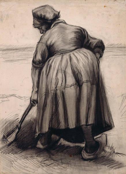 Forsythia Painting - Peasant Woman Digging, 1885 03 by Vincent Van Gogh