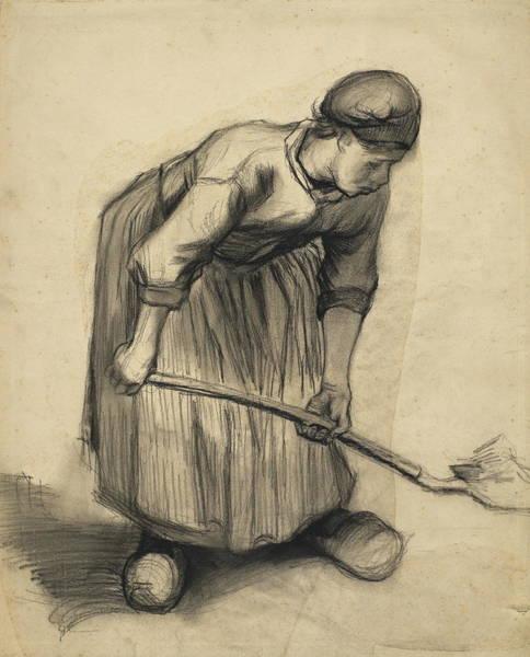 Forsythia Painting - Peasant Woman Digging, 1885 04 by Vincent Van Gogh