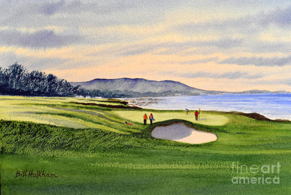 Pebble Painting - Pebble Beach Golf Course 9th Green by Bill Holkham