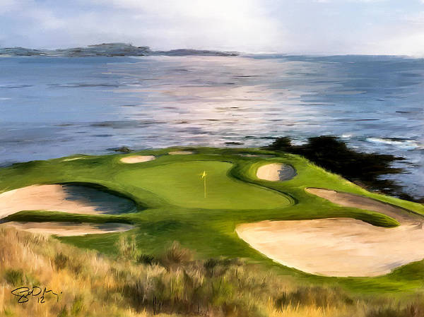 Course Wall Art - Painting - Pebble Beach No.7 by Scott Melby