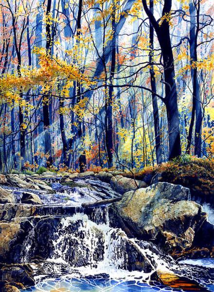 Pebble Painting - Pebble Creek Autumn by Hanne Lore Koehler