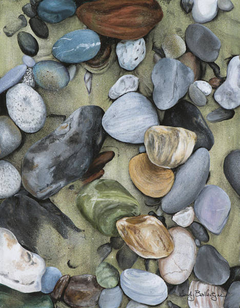 Rock Texture Painting - Pebbles In The Sand by Wendy Ballentyne