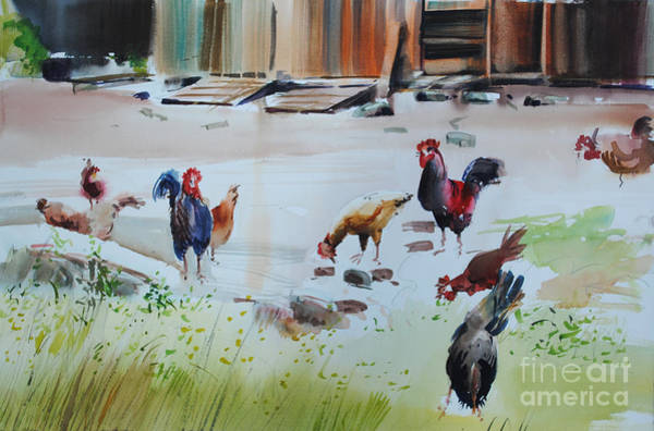 Peck Wall Art - Painting - Pecking Order by P Anthony Visco