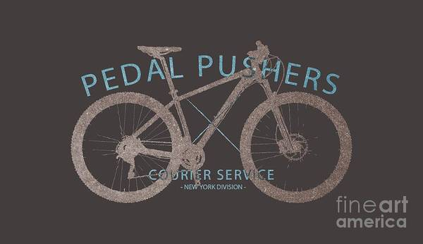 Pedal Wall Art - Digital Art - Pedal Pushers Courier Service Bike Tee by Edward Fielding