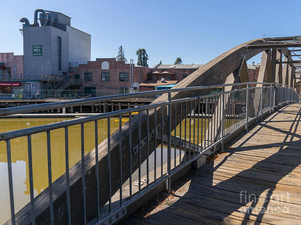 Photograph - Pedestrian Bridge In Petaluma California Usa Dsc3750 by Wingsdomain Art and Photography