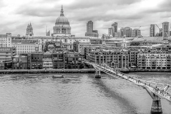 Bankside Photograph - Pedestrians Crossing The Millennium Bridge, London, England, United Kingdom by Mieneke Andeweg-van Rijn
