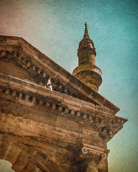 Photograph - Rhodes, Greece - Pediment Pigeon by Mark Forte
