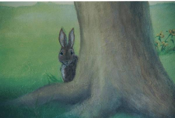 Painting - Peek A Boo Behind The Tree by Suzn Smith