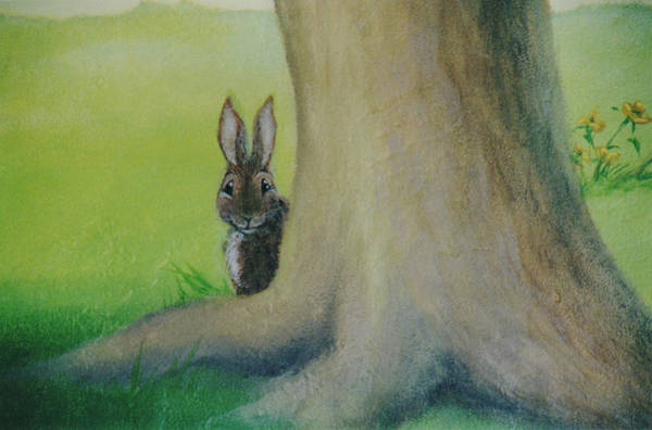 Painting - Peek-a-boo Bunny by Suzn Smith