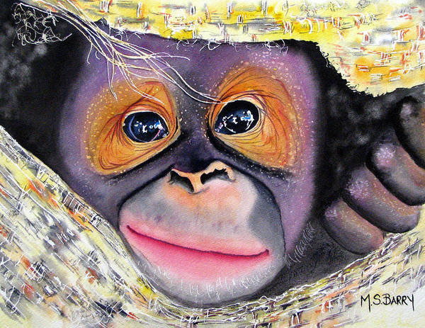 Monkey Painting - Peek A Boo by Maria Barry