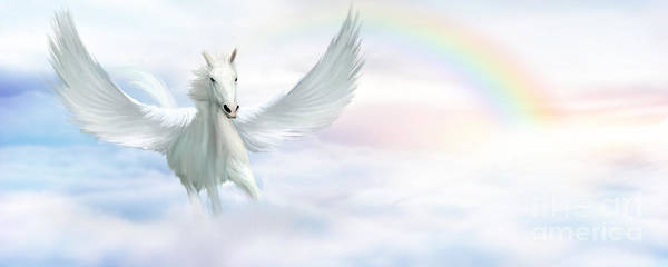 Divine Digital Art - Pegasus by John Edwards