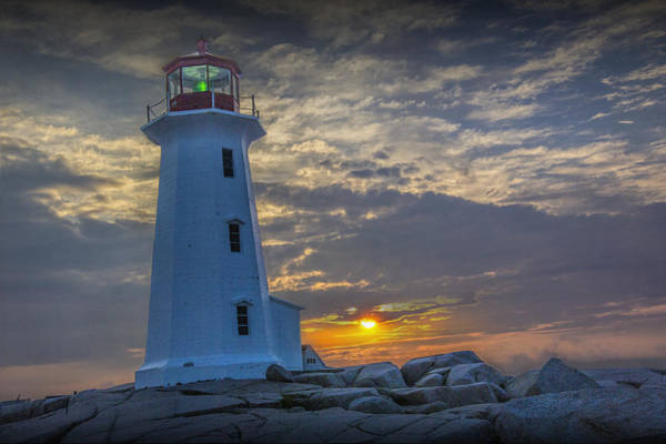 Photograph - Peggy's Cove Lighthouse At Sunrise by Randall Nyhof