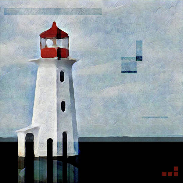 Wall Art - Mixed Media - Peggys Cove Lighthouse Painterly Look by Carol Leigh