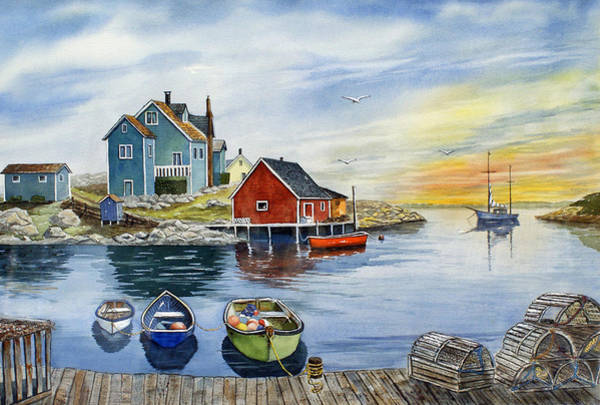 Village Painting - Peggys Cove  by Raymond Edmonds