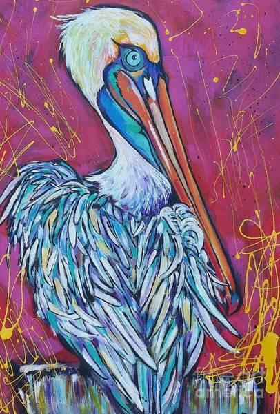 Wall Art - Painting - Pelican by Arrin Burgand