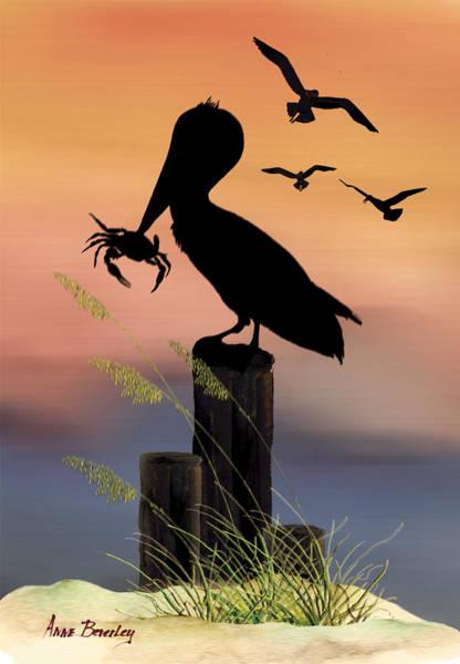 Pelican At Sunset Art Print