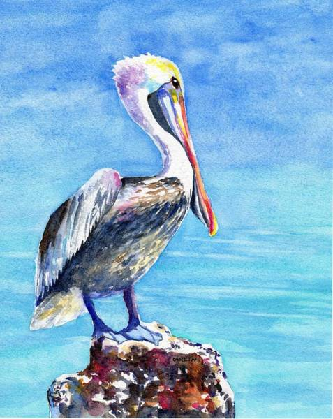 Brown Pelicans Wall Art - Painting - Pelican On A Post  by Carlin Blahnik CarlinArtWatercolor